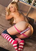 Alyssa Branch is a naughty girl in striped stockings