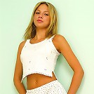 Blonde babe in her cute white outfit