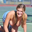Danielle plays some naked tennis