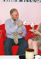 Blonde fucks an old senior couple
