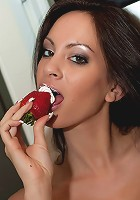 Talia Shepard licking strawberries with whipped cream!