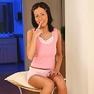 Busty brunette teen strips and toys