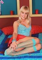 Smiling blonde beauty strips and spreads - Noleta - Smiling blonde strips and spreads