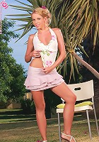 Luscious blonde strips and spreads outdoors - Alica - Luscious blonde strips and spreads