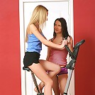 Malisha and Bea - Hot teens have sex on exercise bike