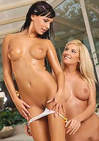Carie and Bianca - Bathing honeys lick twats and butts