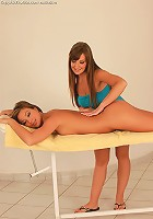 Cate and Natali - Hot teens have sex on massage table