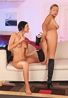 Kristy and Anastasia - Hot lesbians spread twats and kiss