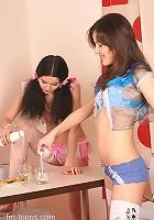 Sexy teens drink their milk