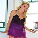 Hot classy chick Charlie teasing in her purple dress sliding a dildo into her pussy