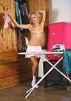 Nubiles.net Jelena - Naughty Nubile Jelena takes a pause from ironing and stuns us by showing her horny bald pussy