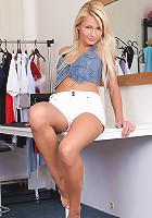Nubiles.net Grace Hartley - Cute blonde babe strips off and fondles her juicy assets on top of the table