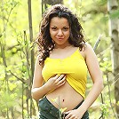 Busty Irene flashing her hairy pussy in the woods
