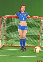 Naked fan Agnes playing soccer