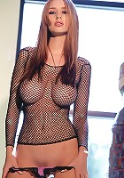 Shay Laren in a fishnet top and pink panties