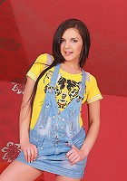 Babelicious.com (Pics) - Henessy E - Cute Henessy rips her denim jumper to finger her pussy