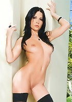 Rebecca Linares is one of the sexiest one-woman welcoming committee ever, greeting visitors with a playful wink, a lecherous smile and a revealing view of her naked knockout body!