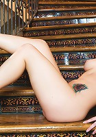 Katie St. Ives crawls up up a long winding flight of stairs naked on her hands and knees, all the while wagging her plump round ass and pink pussy!