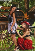 Ashley and Juliette - Victorian dressed vixens lap twats