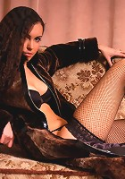 Zemani.com Sonya B - Charming curly girl in black lingerie shows her body indoor.