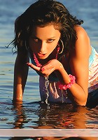 Zemani.com Vika AD - The stylish brunette in blue plays artistically and shows her body on the big river.