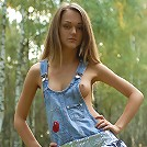 Zemani.com Aurora - Cute young girl takes off her blue jeans sundress and poses nude in the birchwood.